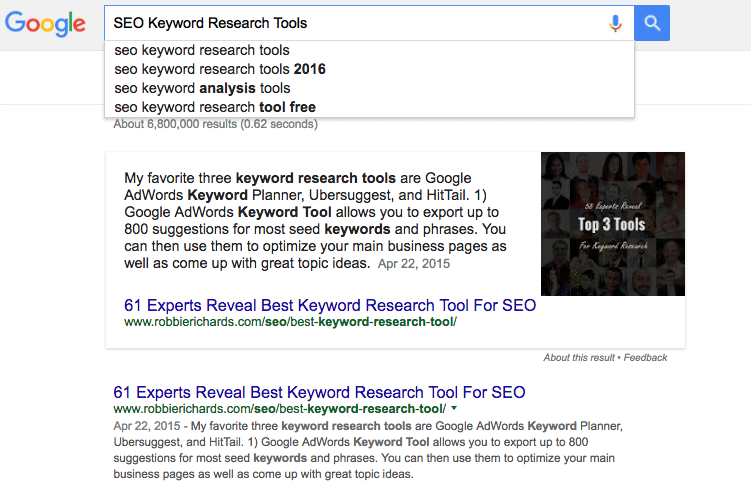 Google Results SEO Keyword Research Tools