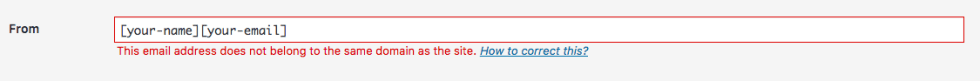 This email address does not belong to the same domain as the site.
