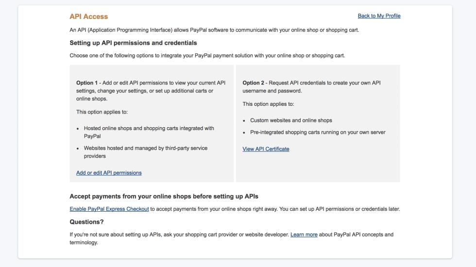 PayPal API Access