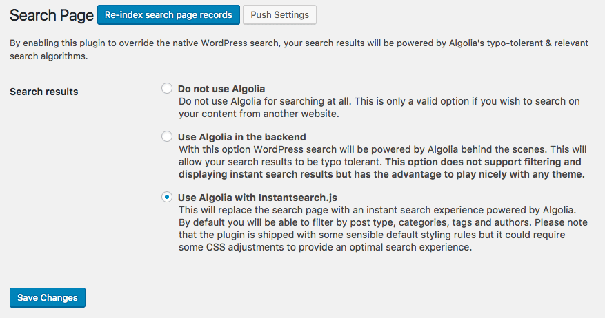 Search Page and Algolia