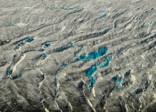 Crevasses and melt water ponds on the Kaskawulsh Glacier