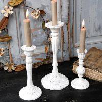 Kerzenständer Antik Weiß 2er Set
