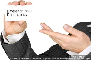 Difference Between Entrepreneurship and Intrapreneurship - Difference no. 4. Dependency