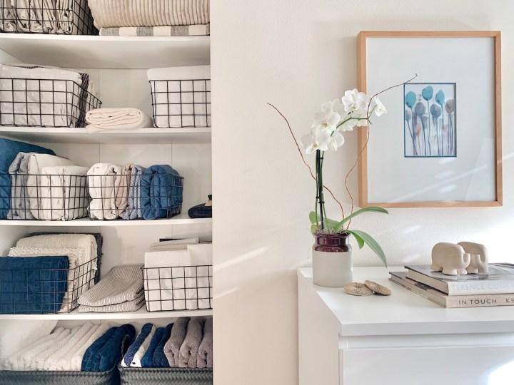 Linen Closet organizing and folding