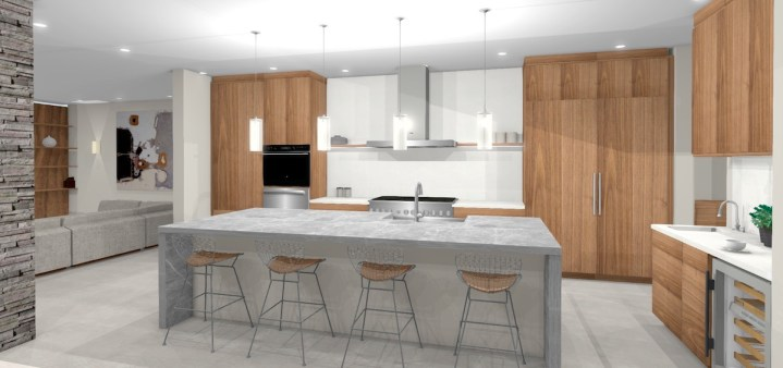 large contemporary kitchen design with light grey island top