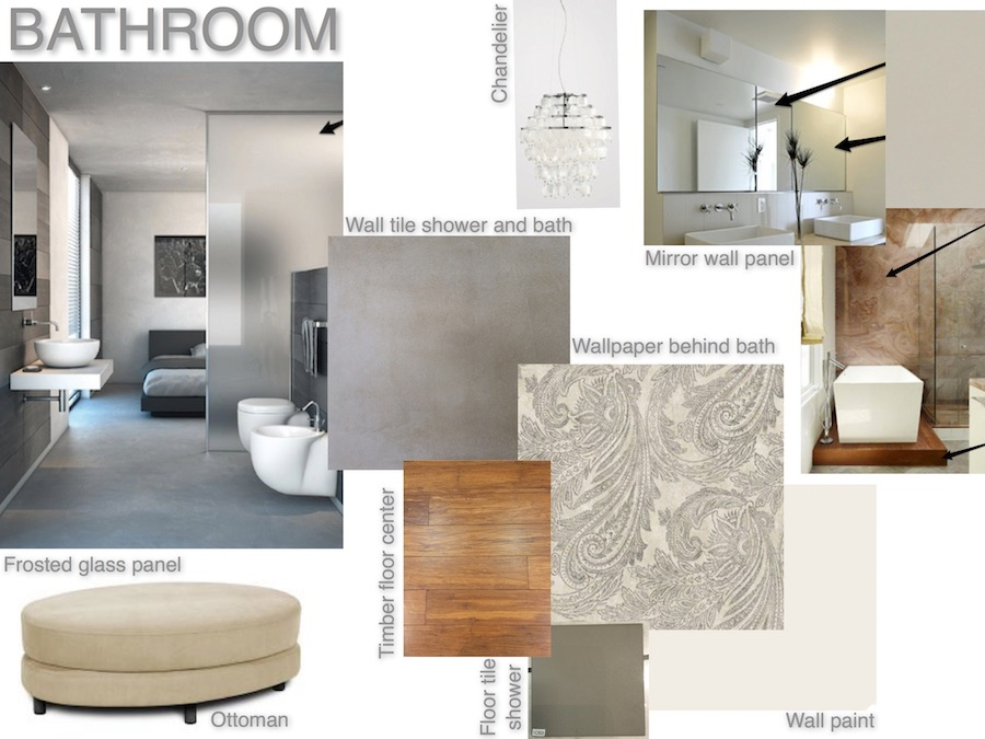 Mood board ensuite bathroom with cement tile and wallpaper