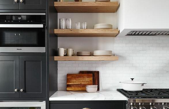 Kitchen upgrade open timber shelves black base cupboards white backsplash