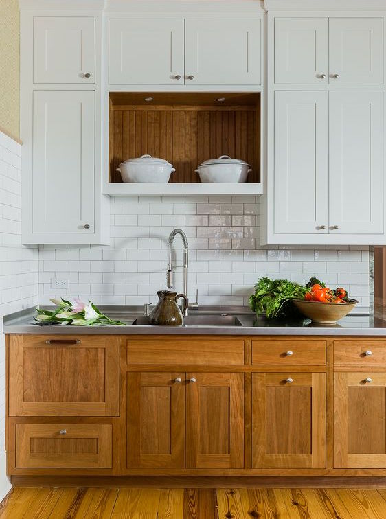 Kitchen upgrade painting upper wall cupboards white with timber base units