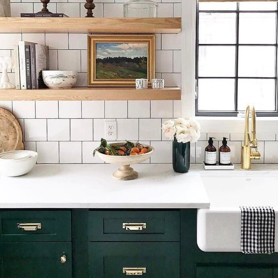 Kitchen upgrade with open shelves on white backsplash and black painted cabinets