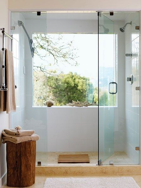 add more space to your bathroom with uncluttered window, glass panels frameless door natural light