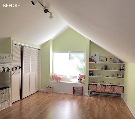 Attic playroom before remodeling with pitch room ceiling