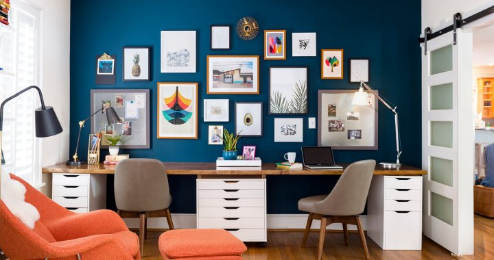 6 Steps to a happy home office where you can be productive and inspired using color, the right storage, flexible lighting, and a view for inspiration