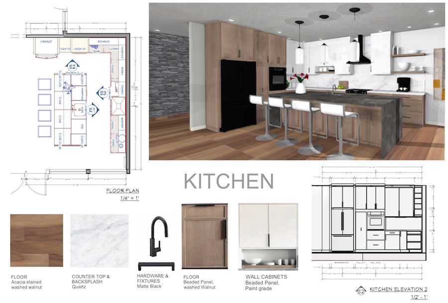 Kitchen design with white upper wall cabinets and walnut base cabinets modern interior design
