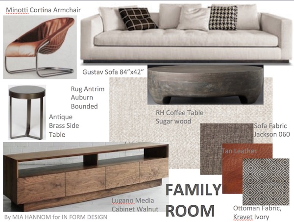 interior design concept for living room update refresh with neutral sofa minotti leather chair and wood media cabinet