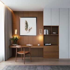 Home office with built-in desk and wood panel, storage cabinets and open shelving next to closet