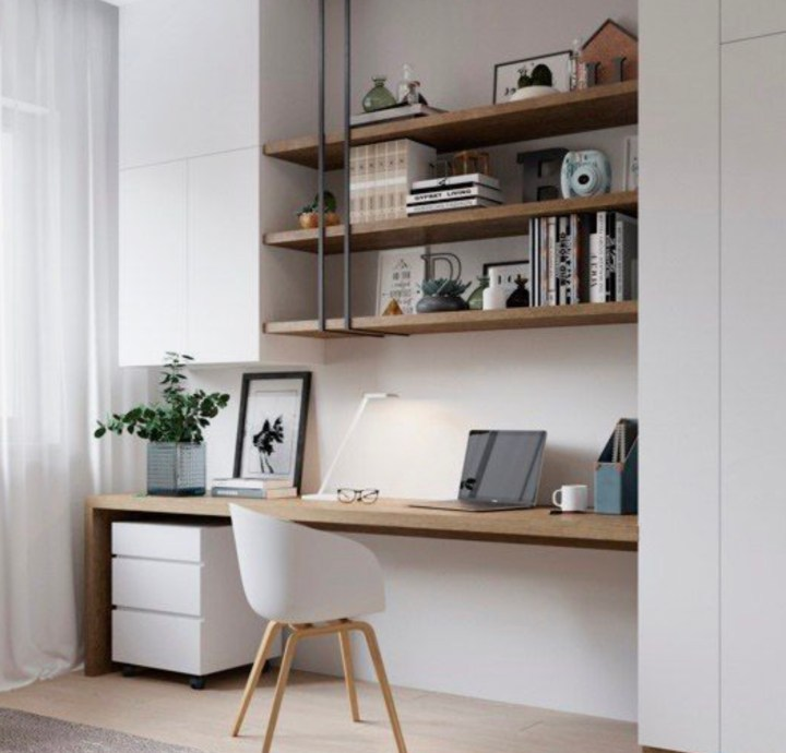 custom home office with timber work top and open shelves