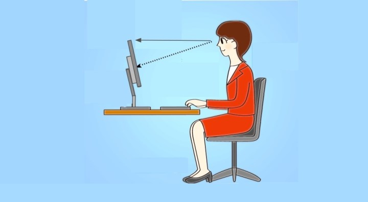 Desk monitor at eye height to prevent neck ache