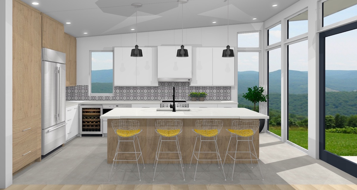 Contemporary kitchen with encaustic black and white backsplash tile with white oak cabinets and large island