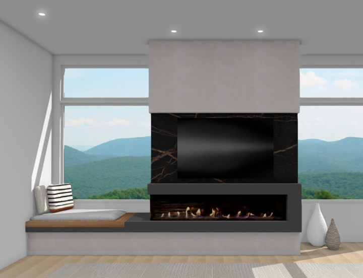 Fireplace design with window bench concrete mantel