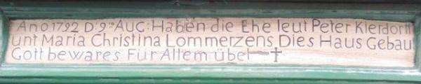Die Inschrift über dem Eingang zum Waatsack