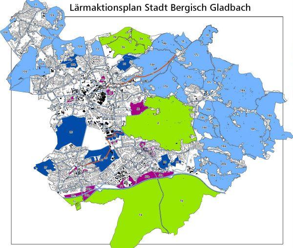 Karte: ruhige Gebiete in Bergisch Gladbach