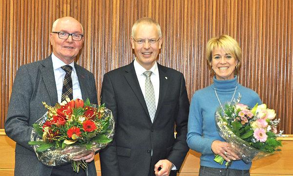 Landrat Hermann -Josef Tebroke mit den neuen Dezernenten Aggi Thieme und Gerd Wölwer