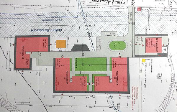 Die gesamte Anlage auf dem Plan. Oben das Kombibad, unten die IGP. Der 3-Stöcker steht rechts.