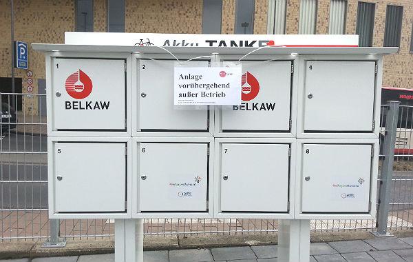 Die E-Bike-Tankstelle ist außer Betrieb, wird aber ohnehin kaum genutzt.