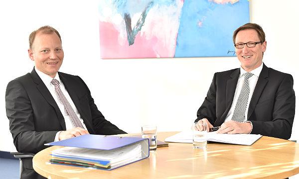 Die Führung der VR Bank: Thomas Büscher und Lothar Uedelhoven