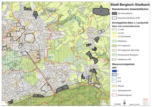 Auf dieser Karte haben die Planer potenzielle Flächen für Gewerbeflächen eingetragen