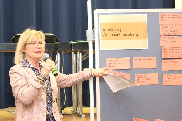 Eine Arbeitsgruppenleiterin stellt die Ergebnisse zum Wohnpark Bensberg vor