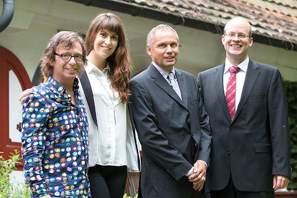 Purple Schulz, Madita van Hülsen, Georg Kronthaler und David Roth bei der Verleihung des Fritz Roth Medienpreis 2016