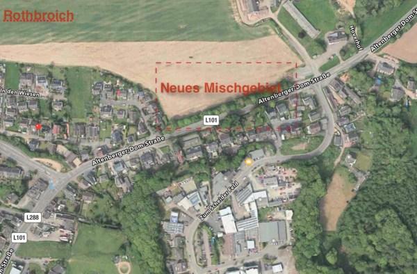 Rothbroich am Rande von Schildgen. Hier könnte ein Mischgebiet entstehen. Quelle: Google Maps