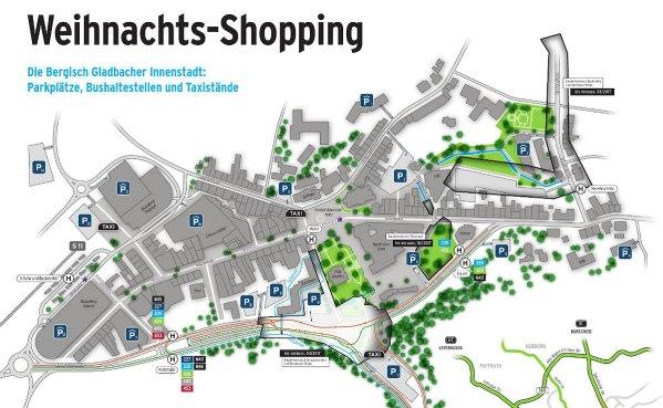 Parkplätze und Baustellen in der City. Ein Klick vergrößert die Karte