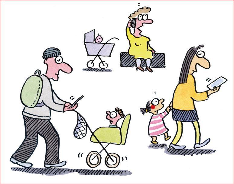 baby statt handy cartoons werben fur