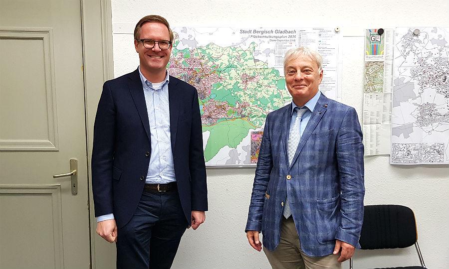 Michael Metten, Fraktionschef der CDU, Klaus Waldschmidt, Fraktionschef der SPD im Rat der Stadt Bergisch Gladbach