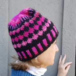 pink multi and black ribbed hat