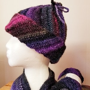 multi colored ribbed hat