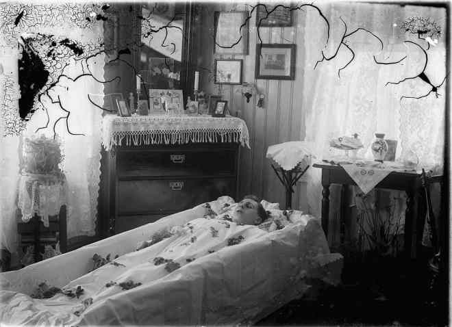 Casket & corpse in funeral home