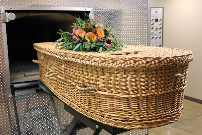 willow casket in crematory