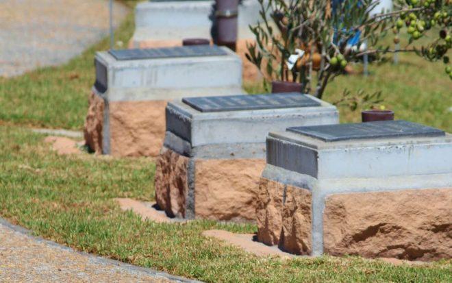 Entombed urns in a cemetery urn garden