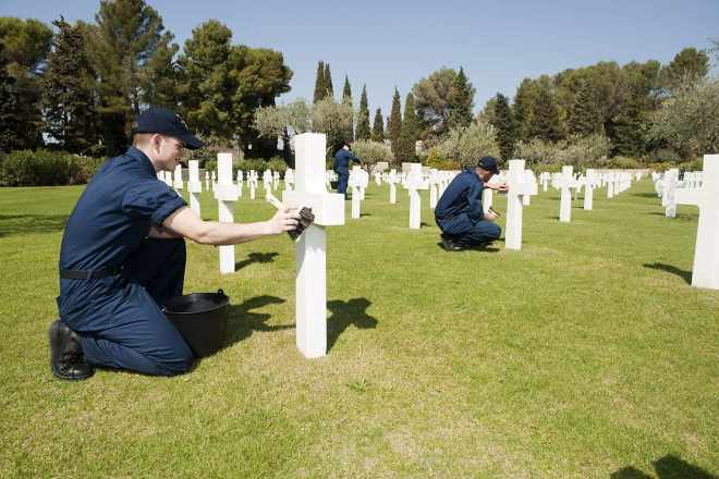 US Navy Sailor Cleaning Headstones