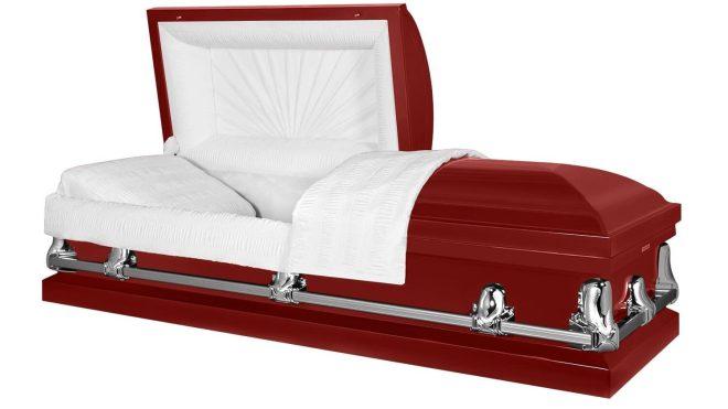 red casket by Titan Casket