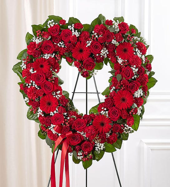 Always Remember™ Floral Heart Funeral Tribute- Red
