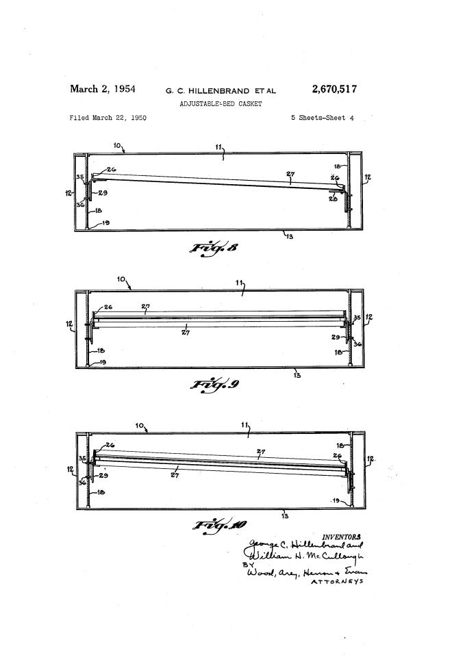 Adjustable bed for a casket diagram