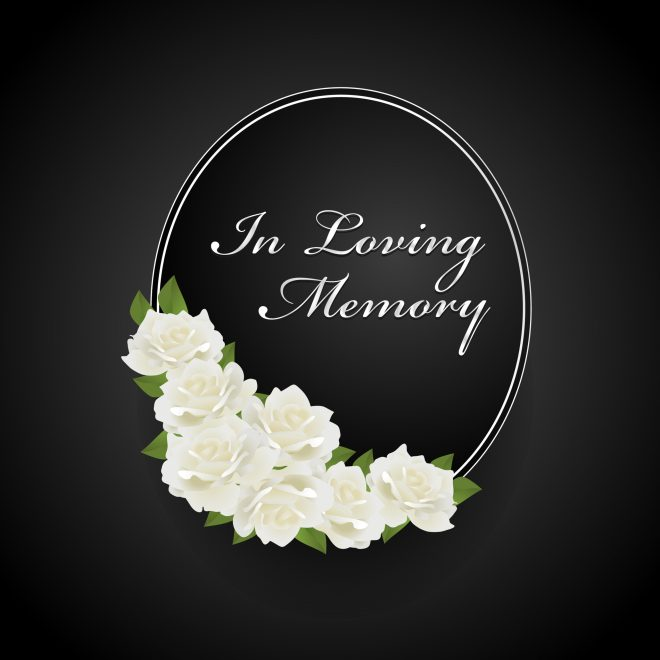 """Roses and text that reads """"In loving memory"""""""