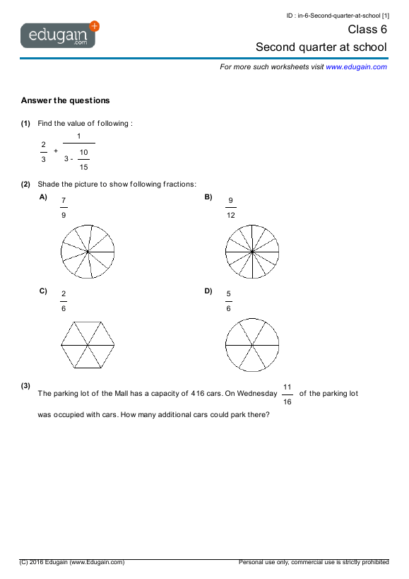 Class 6 Math Worksheets and Problems: Second quarter at