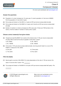 Class 8 Math Worksheets and Problems: Compound Interest ...