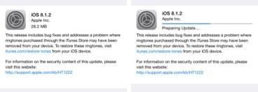 Apple: Διαθέσιμο το iOS 8.1.2