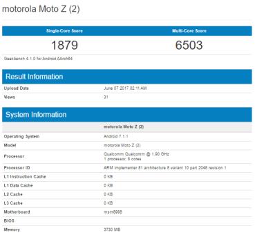 Moto Z2 με Snapdragon 835 στο εσωτερικό του